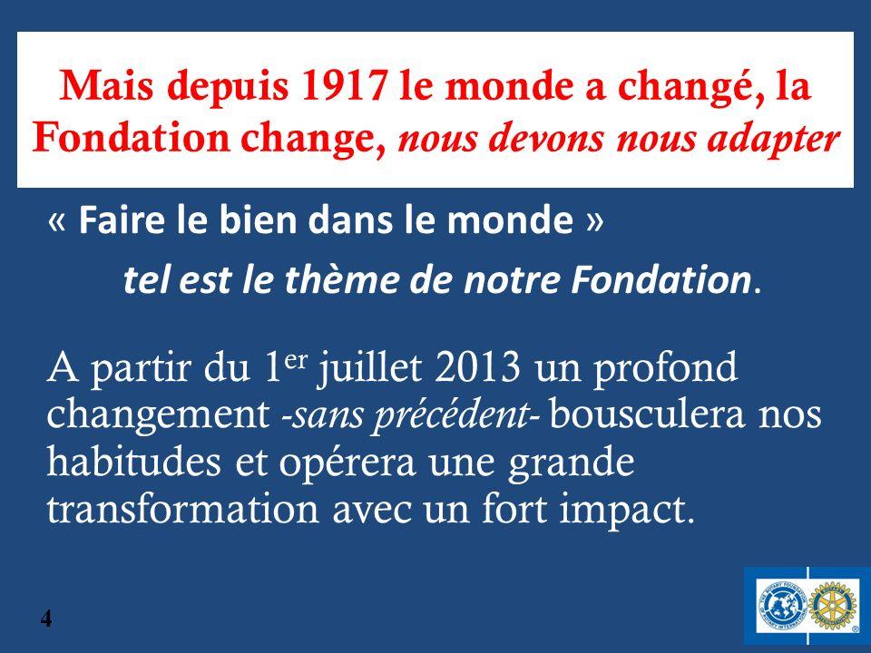 Mais depuis 1917 le monde a changé, la Fondation change, nous devons nous adapter A partir du 1 er juillet 2013 un profond changement -sans précédent-