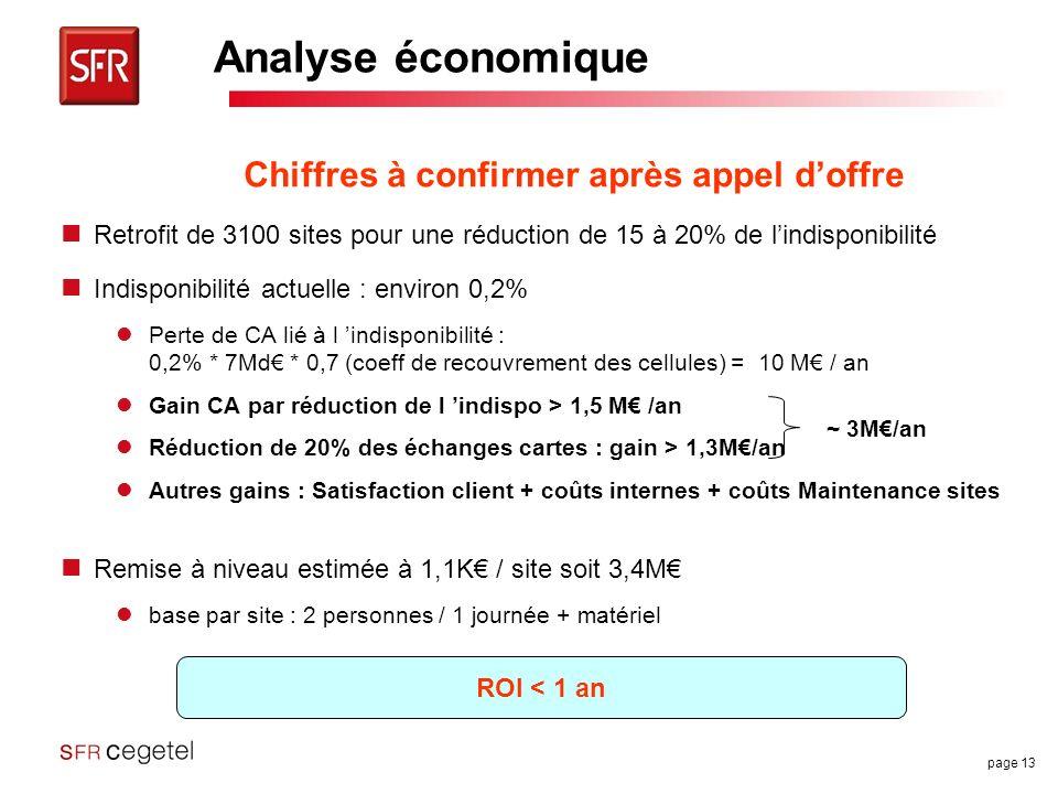 page 13 Analyse économique Retrofit de 3100 sites pour une réduction de 15 à 20% de lindisponibilité Indisponibilité actuelle : environ 0,2% Perte de CA lié à l indisponibilité : 0,2% * 7Md * 0,7 (coeff de recouvrement des cellules) = 10 M / an Gain CA par réduction de l indispo > 1,5 M /an Réduction de 20% des échanges cartes : gain > 1,3M/an Autres gains : Satisfaction client + coûts internes + coûts Maintenance sites Remise à niveau estimée à 1,1K / site soit 3,4M base par site : 2 personnes / 1 journée + matériel Chiffres à confirmer après appel doffre ROI < 1 an ~ 3M/an