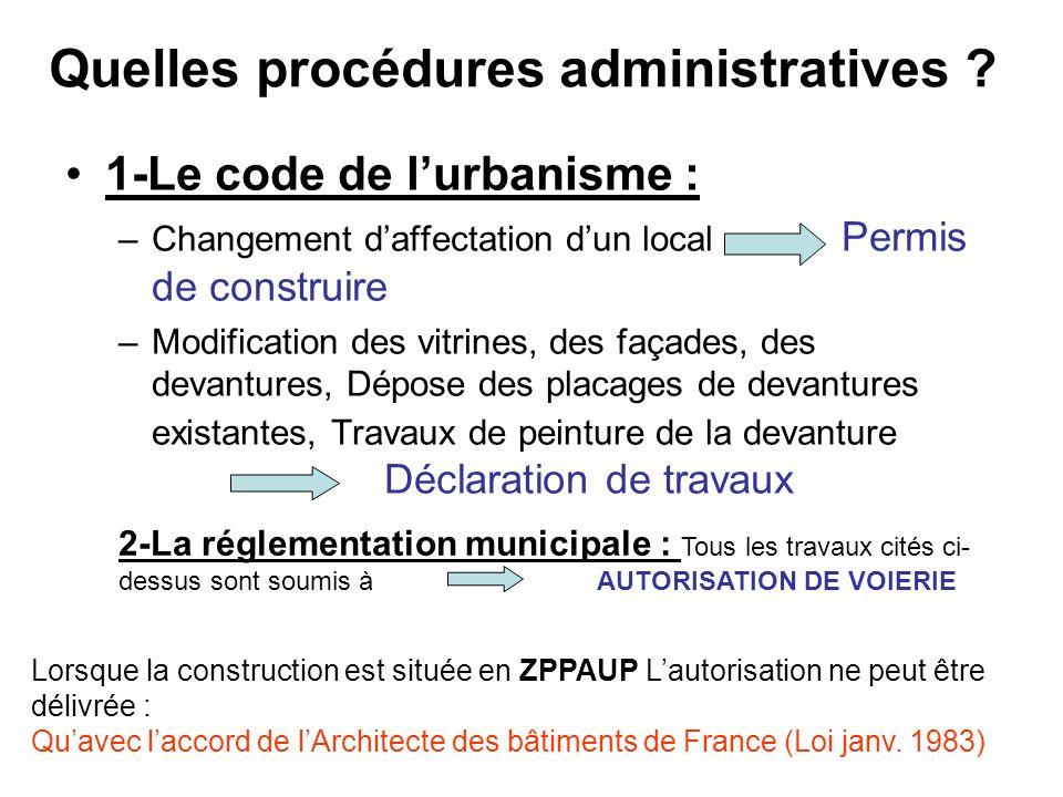 Quelles procédures administratives .