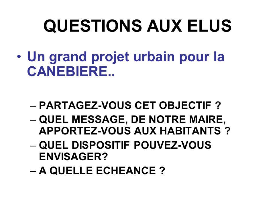 QUESTIONS AUX ELUS Un grand projet urbain pour la CANEBIERE..
