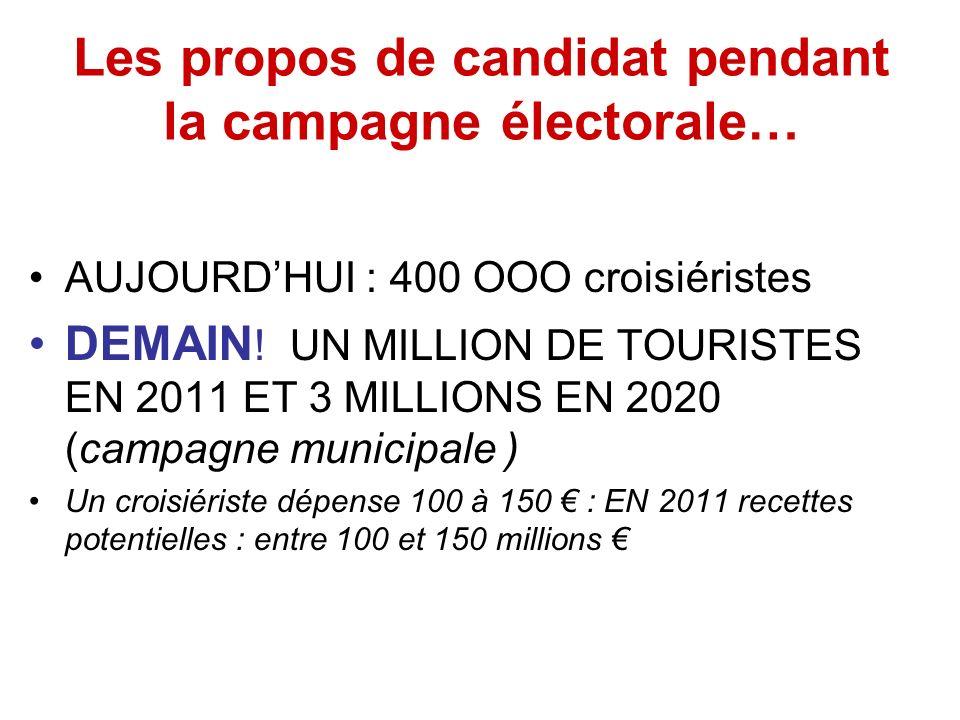 Les propos de candidat pendant la campagne électorale… AUJOURDHUI : 400 OOO croisiéristes DEMAIN .