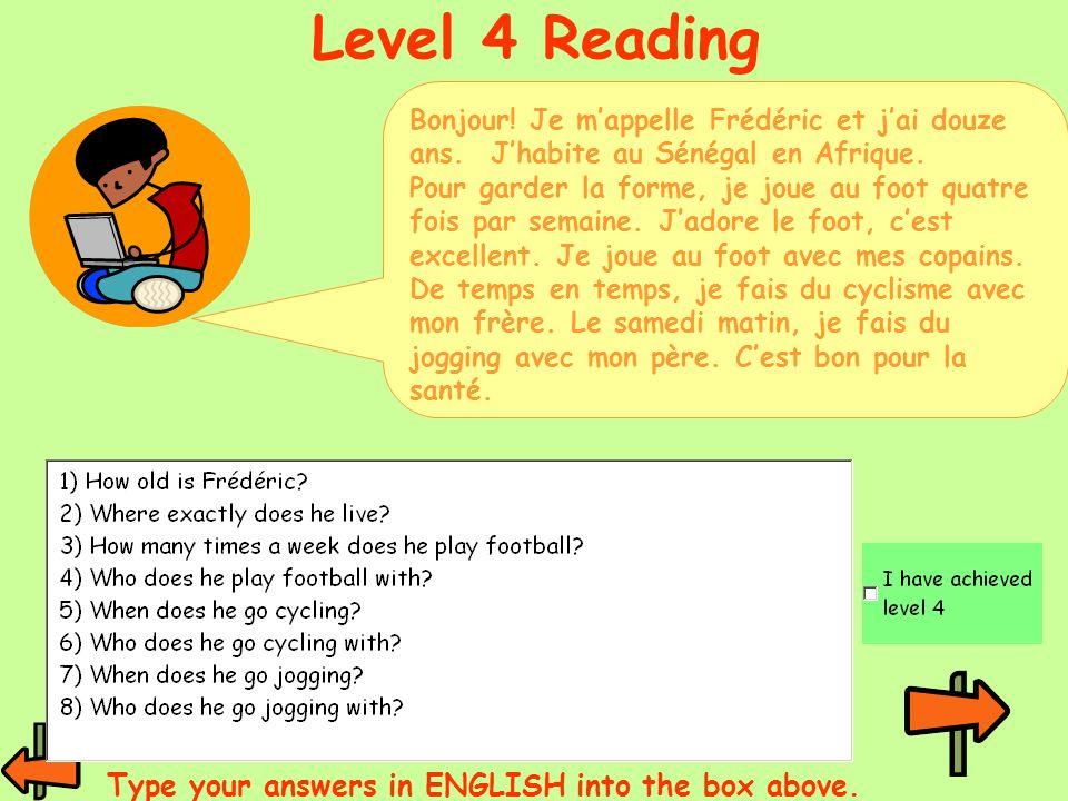Bonjour! Je mappelle Frédéric et jai douze ans. Jhabite au Sénégal en Afrique. Pour garder la forme, je joue au foot quatre fois par semaine. Jadore l