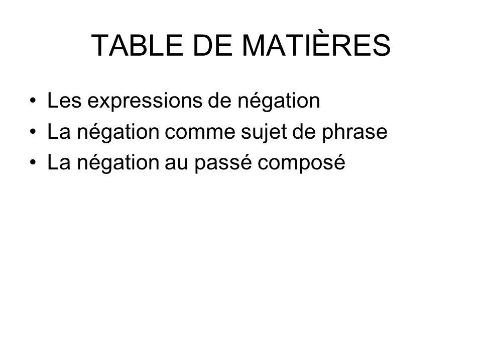 TABLE DE MATIÈRES Les expressions de négation La négation comme sujet de phrase La négation au passé composé