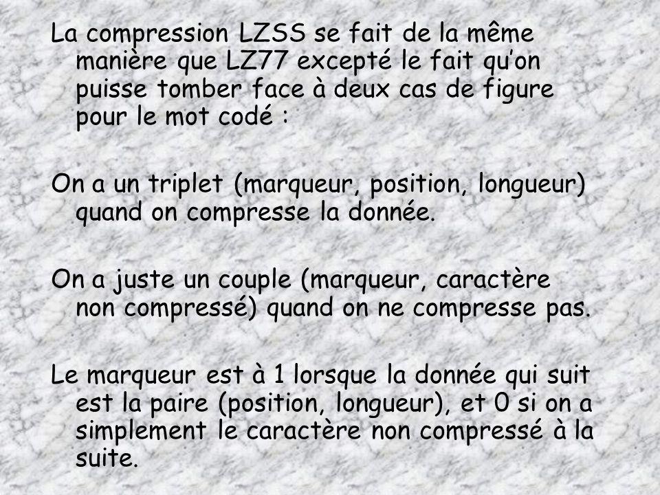 La compression LZSS se fait de la même manière que LZ77 excepté le fait quon puisse tomber face à deux cas de figure pour le mot codé : On a un triplet (marqueur, position, longueur) quand on compresse la donnée.