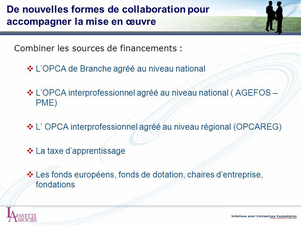 De nouvelles formes de collaboration pour accompagner la mise en œuvre Combiner les sources de financements : LOPCA de Branche agréé au niveau nationa