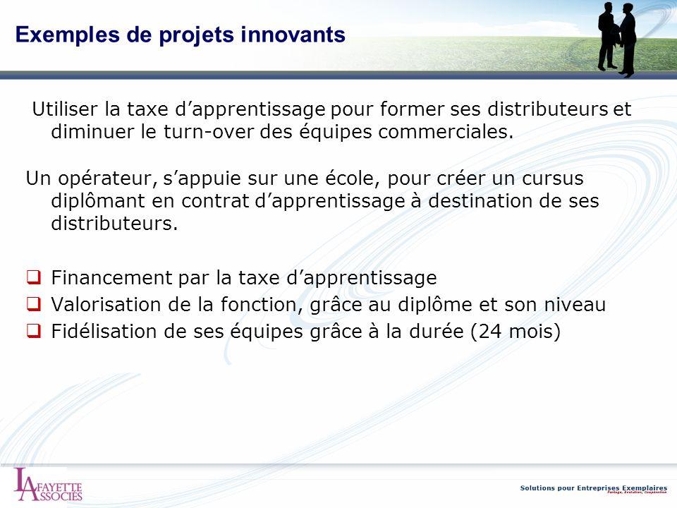 Exemples de projets innovants Utiliser la taxe dapprentissage pour former ses distributeurs et diminuer le turn-over des équipes commerciales. Un opér
