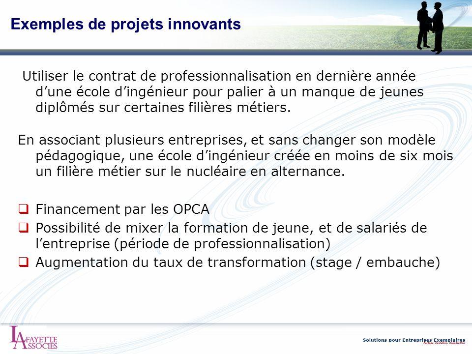 Exemples de projets innovants Utiliser le contrat de professionnalisation en dernière année dune école dingénieur pour palier à un manque de jeunes di