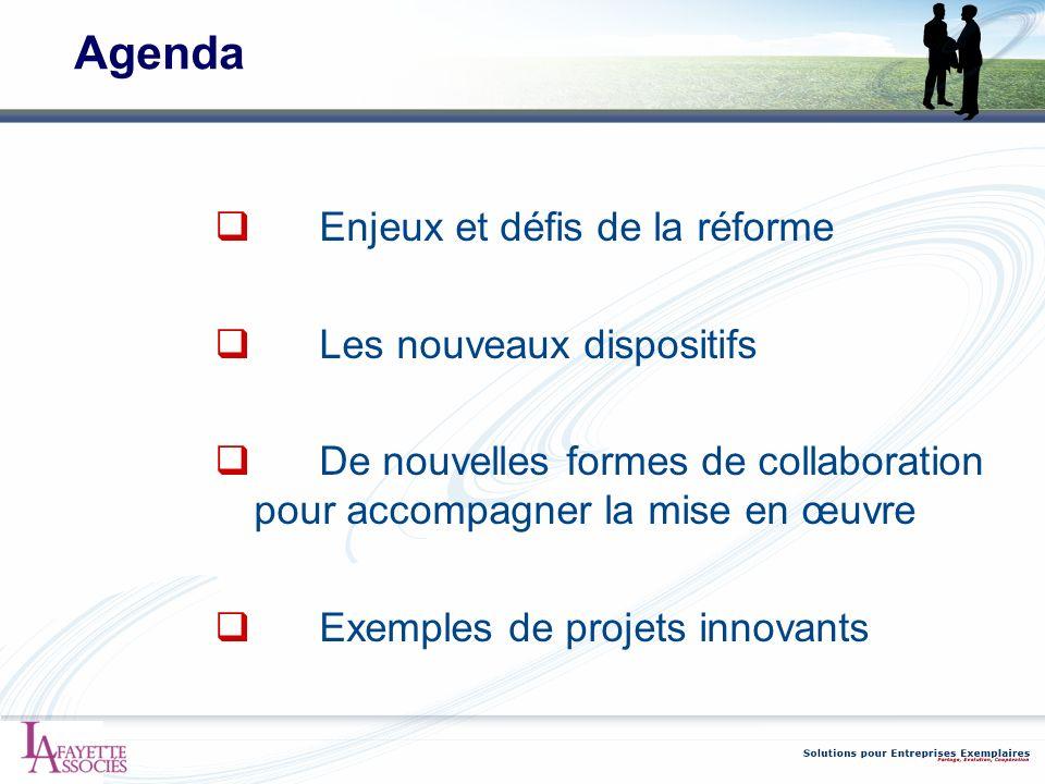 Agenda Enjeux et défis de la réforme Les nouveaux dispositifs De nouvelles formes de collaboration pour accompagner la mise en œuvre Exemples de proje