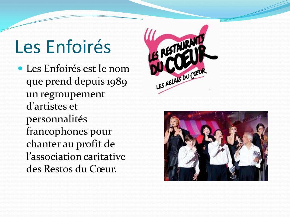 Les Enfoirés Les Enfoirés est le nom que prend depuis 1989 un regroupement d artistes et personnalités francophones pour chanter au profit de lassociation caritative des Restos du Cœur.
