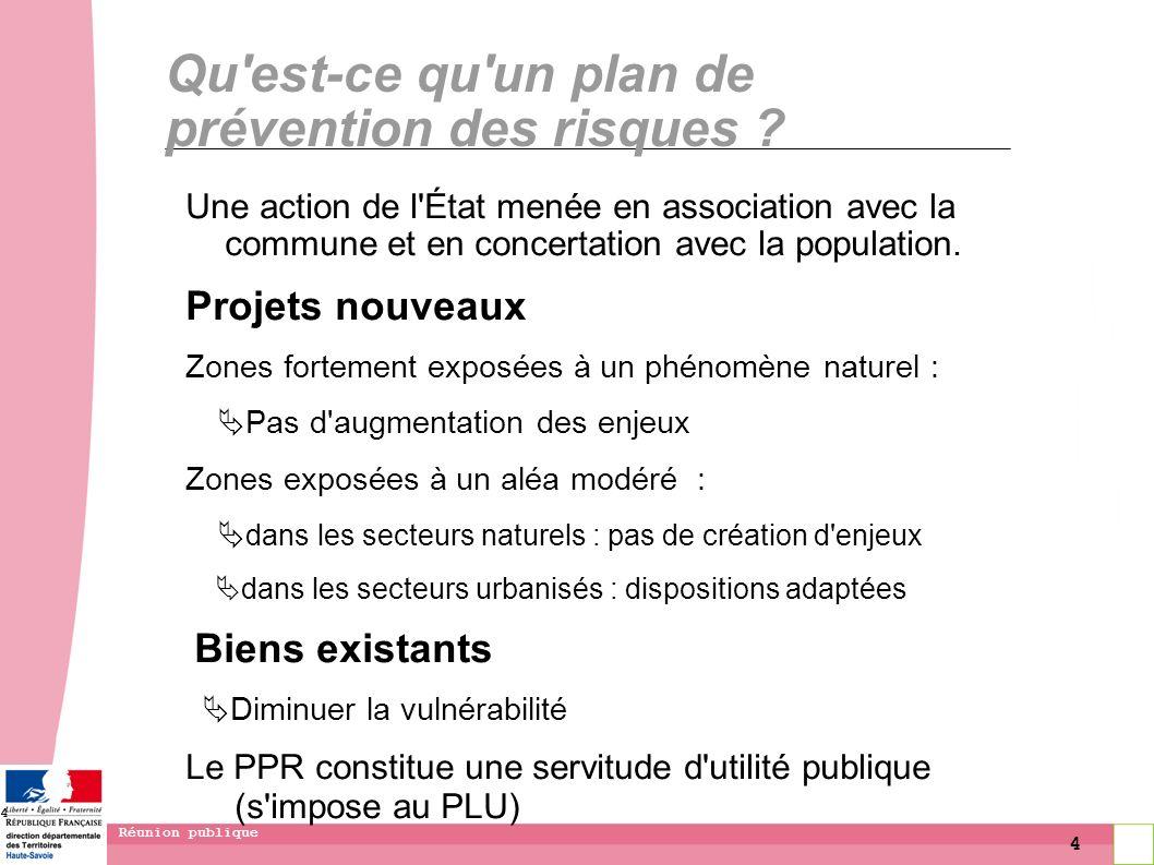 4 Réunion publique 4 Qu'est-ce qu'un plan de prévention des risques ? Une action de l'État menée en association avec la commune et en concertation ave