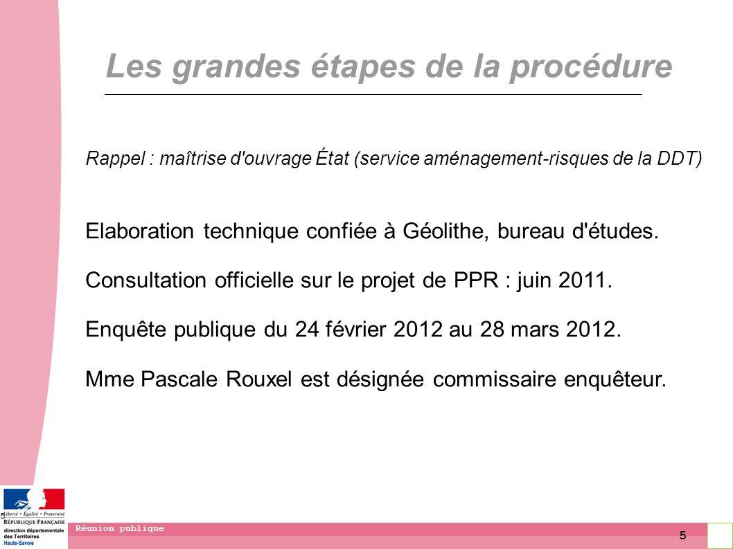 5 Réunion publique 5 Les grandes étapes de la procédure Rappel : maîtrise d'ouvrage État (service aménagement-risques de la DDT) Elaboration technique