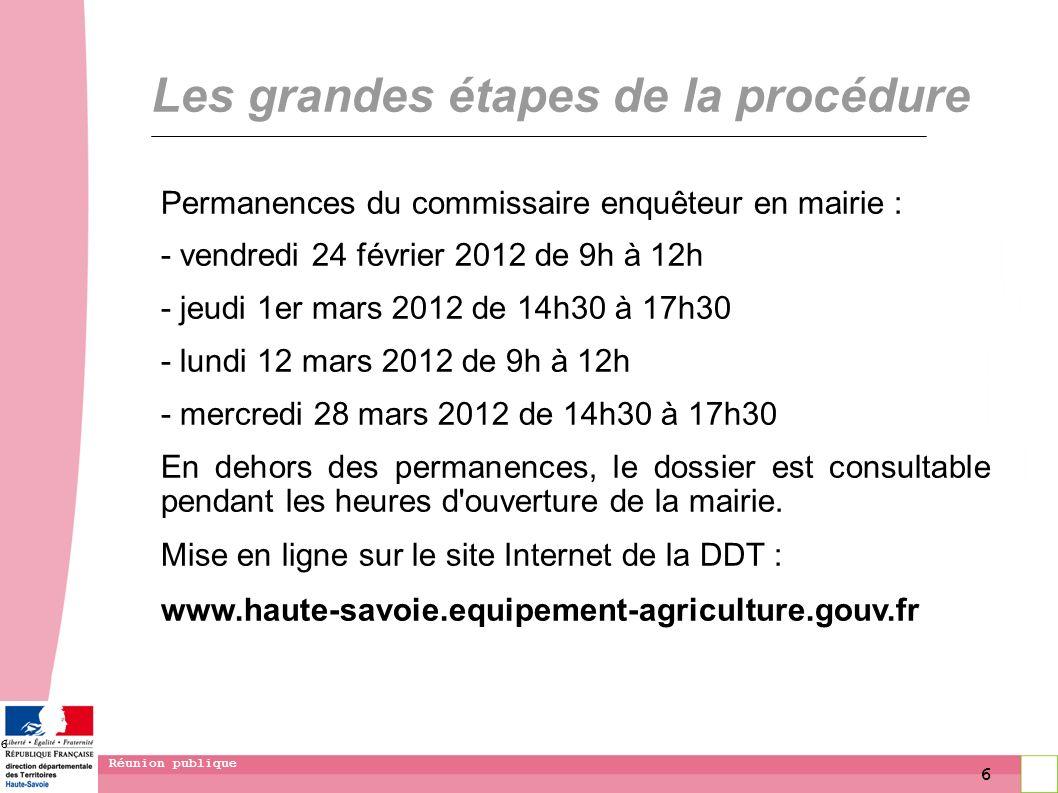 6 Réunion publique 6 Les grandes étapes de la procédure Permanences du commissaire enquêteur en mairie : - vendredi 24 février 2012 de 9h à 12h - jeud