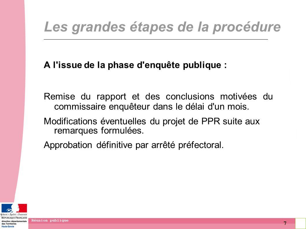 7 Réunion publique 7 Les grandes étapes de la procédure A l'issue de la phase d'enquête publique : Remise du rapport et des conclusions motivées du co