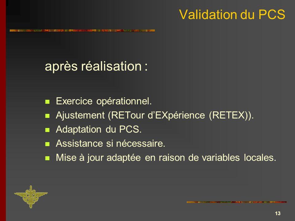 13 Validation du PCS Exercice opérationnel. Ajustement (RETour dEXpérience (RETEX)). Adaptation du PCS. Assistance si nécessaire. Mise à jour adaptée