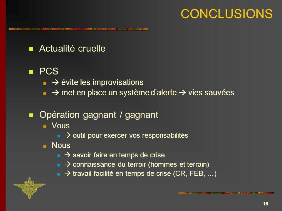 16 CONCLUSIONS Actualité cruelle PCS évite les improvisations met en place un système dalerte vies sauvées Opération gagnant / gagnant Vous outil pour