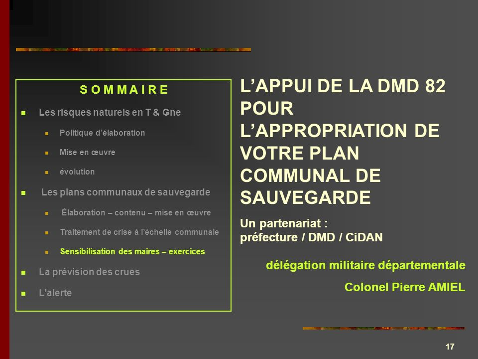 17 LAPPUI DE LA DMD 82 POUR LAPPROPRIATION DE VOTRE PLAN COMMUNAL DE SAUVEGARDE Un partenariat : préfecture / DMD / CiDAN délégation militaire départe