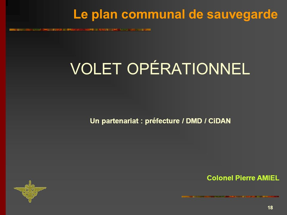 18 VOLET OPÉRATIONNEL Un partenariat : préfecture / DMD / CiDAN Le plan communal de sauvegarde Colonel Pierre AMIEL