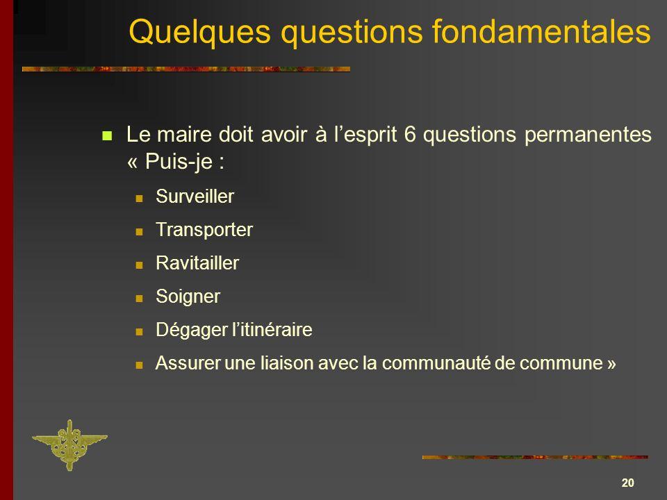 20 Quelques questions fondamentales Le maire doit avoir à lesprit 6 questions permanentes « Puis-je : Surveiller Transporter Ravitailler Soigner Dégag