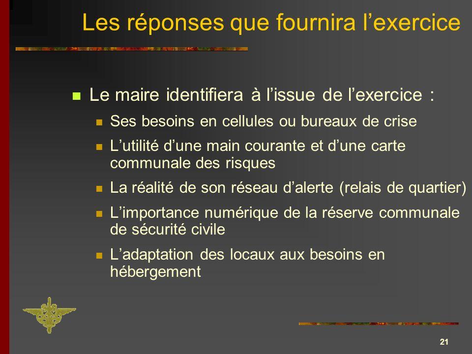 21 Les réponses que fournira lexercice Le maire identifiera à lissue de lexercice : Ses besoins en cellules ou bureaux de crise Lutilité dune main cou