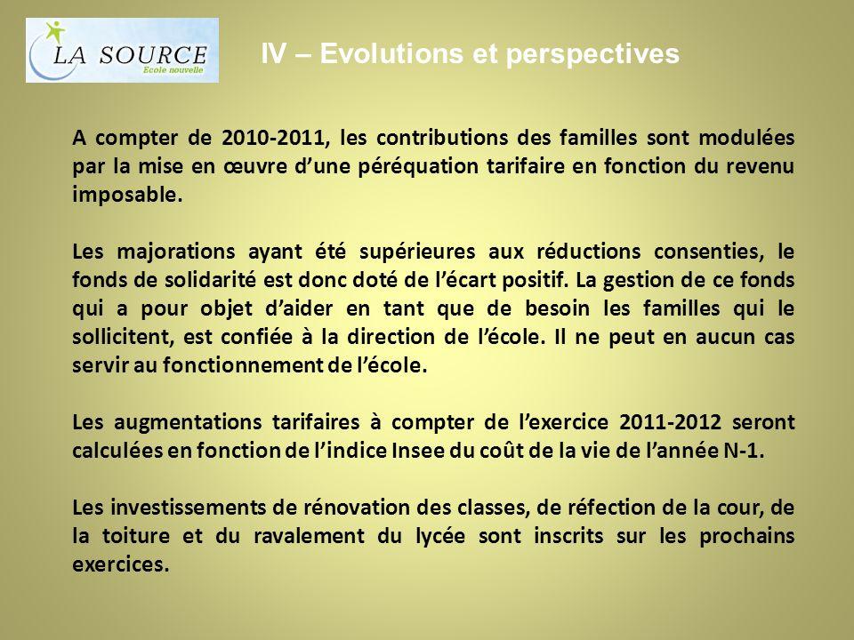 A compter de 2010-2011, les contributions des familles sont modulées par la mise en œuvre dune péréquation tarifaire en fonction du revenu imposable.