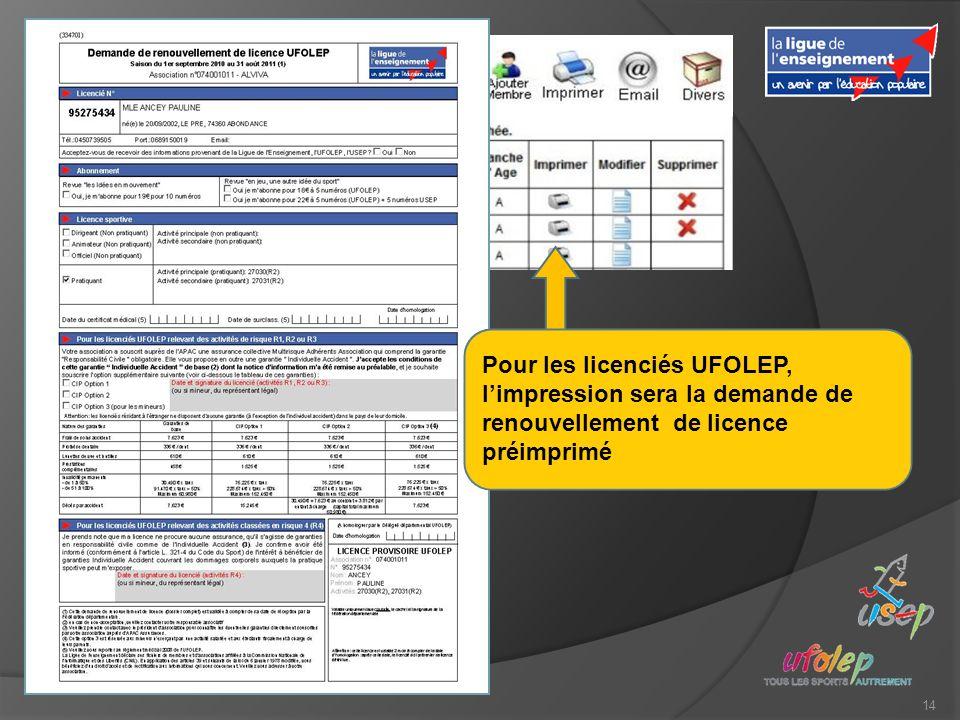 14 Pour les licenciés UFOLEP, limpression sera la demande de renouvellement de licence préimprimé