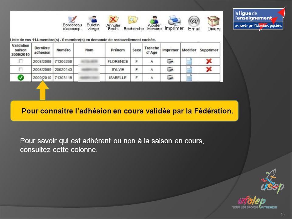15 Pour connaitre ladhésion en cours validée par la Fédération.