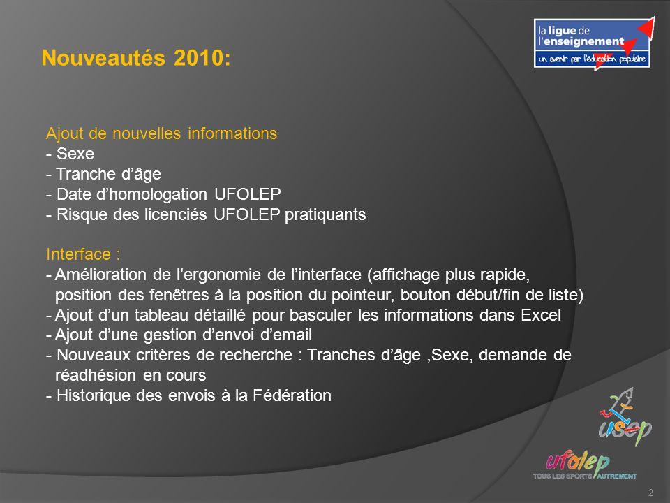 2 Nouveautés 2010: Ajout de nouvelles informations - Sexe - Tranche dâge - Date dhomologation UFOLEP - Risque des licenciés UFOLEP pratiquants Interfa