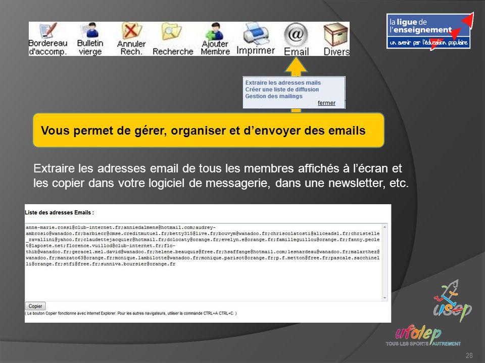 28 Vous permet de gérer, organiser et denvoyer des emails Extraire les adresses email de tous les membres affichés à lécran et les copier dans votre logiciel de messagerie, dans une newsletter, etc.