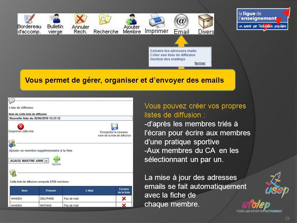 29 Vous permet de gérer, organiser et denvoyer des emails Vous pouvez créer vos propres listes de diffusion : -daprès les membres triés à lécran pour