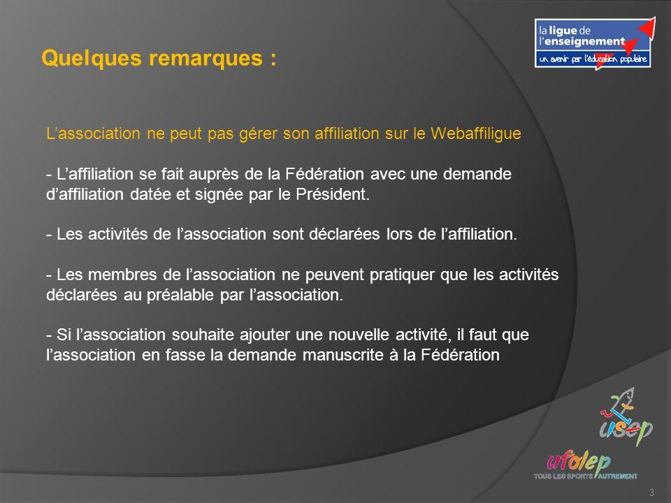 3 Quelques remarques : Lassociation ne peut pas gérer son affiliation sur le Webaffiligue - Laffiliation se fait auprès de la Fédération avec une demande daffiliation datée et signée par le Président.