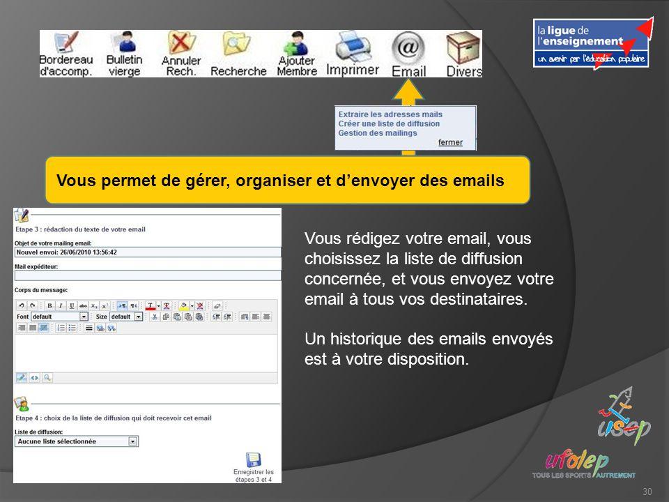 30 Vous permet de gérer, organiser et denvoyer des emails Vous rédigez votre email, vous choisissez la liste de diffusion concernée, et vous envoyez votre email à tous vos destinataires.