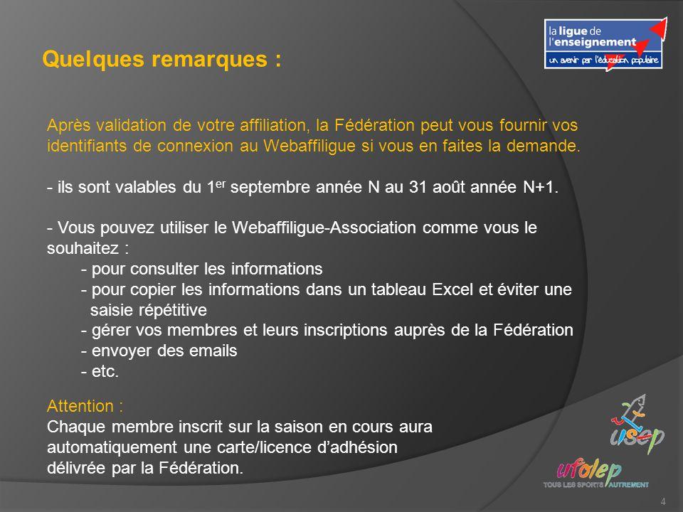 4 Quelques remarques : Après validation de votre affiliation, la Fédération peut vous fournir vos identifiants de connexion au Webaffiligue si vous en