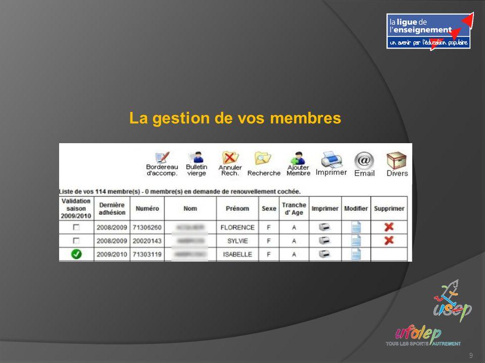 9 La gestion de vos membres
