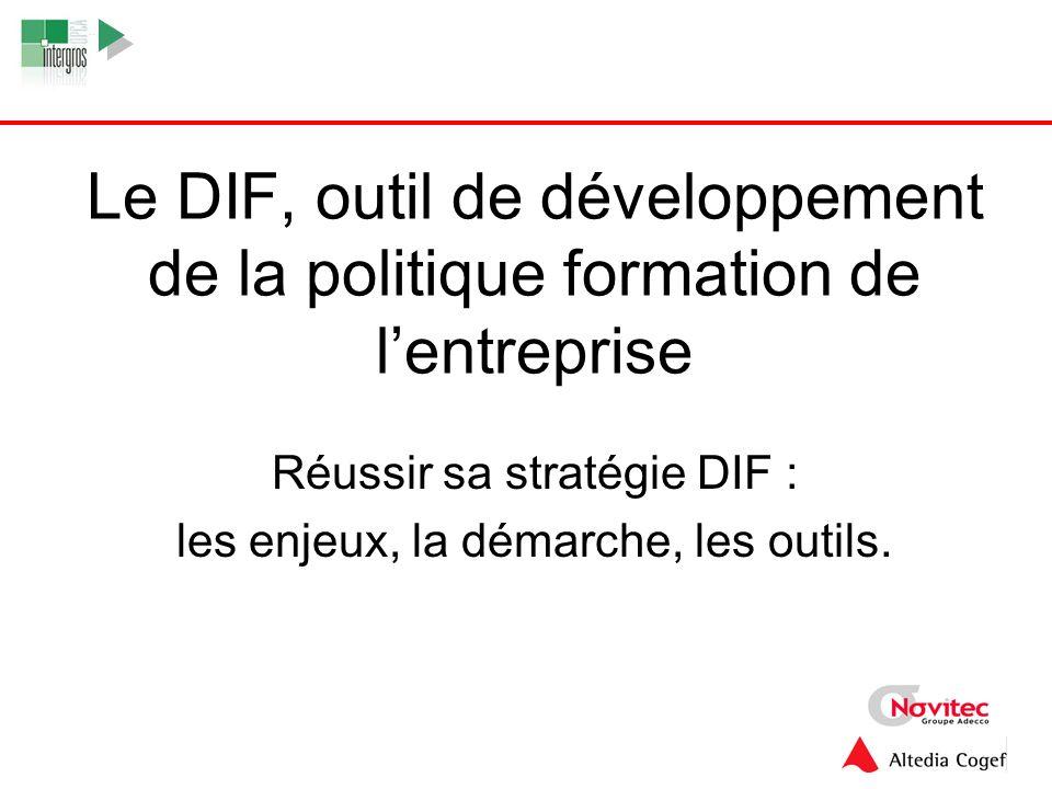 1 Le DIF, outil de développement de la politique formation de lentreprise Réussir sa stratégie DIF : les enjeux, la démarche, les outils.