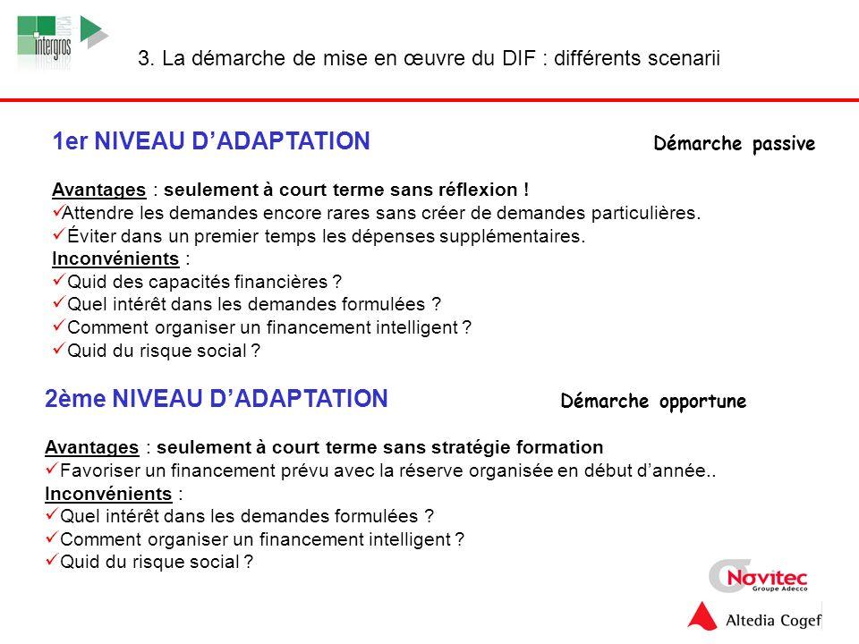 11 3. La démarche de mise en œuvre du DIF : différents scenarii 1er NIVEAU DADAPTATION Démarche passive Avantages : seulement à court terme sans réfle