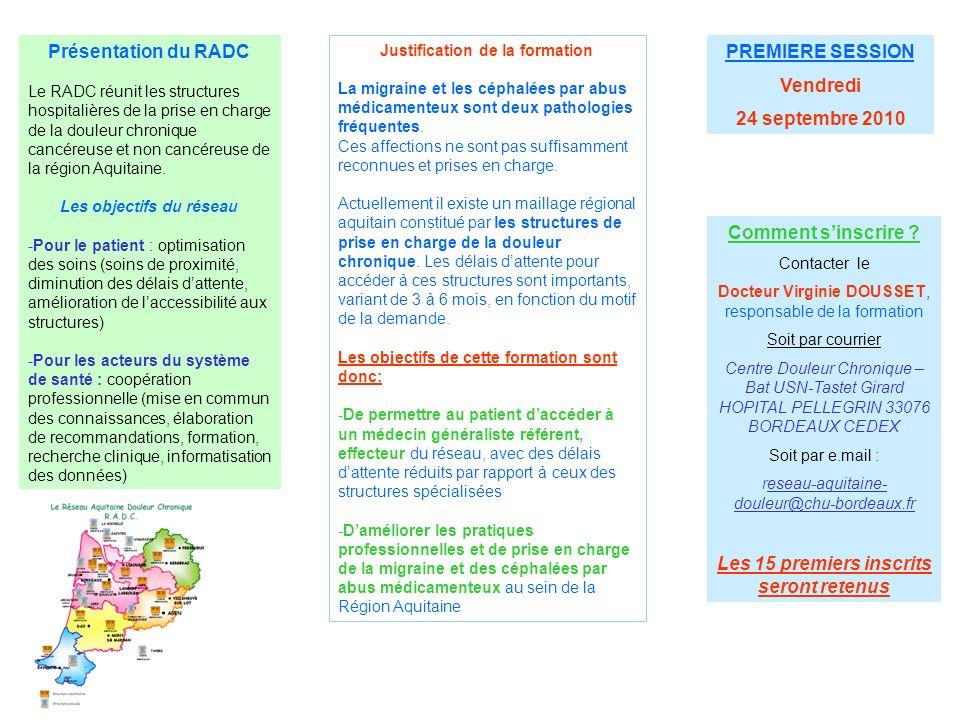 Présentation du RADC Le RADC réunit les structures hospitalières de la prise en charge de la douleur chronique cancéreuse et non cancéreuse de la régi