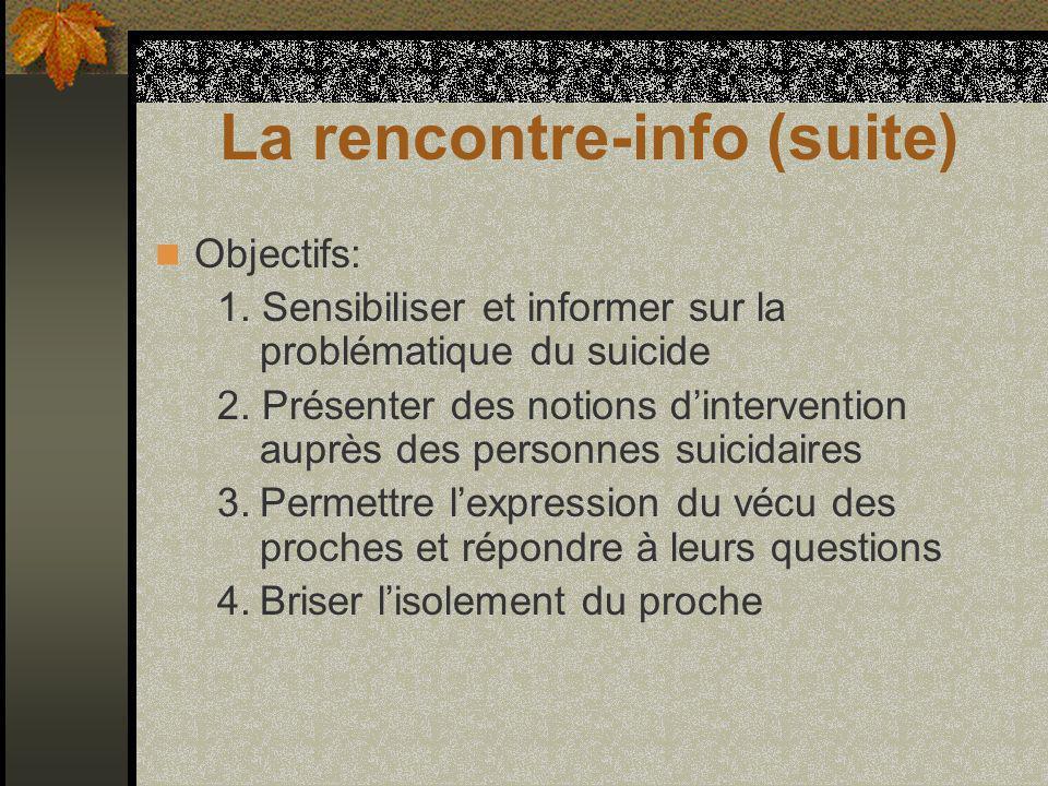 La rencontre-info (suite) Objectifs: 1. Sensibiliser et informer sur la problématique du suicide 2.