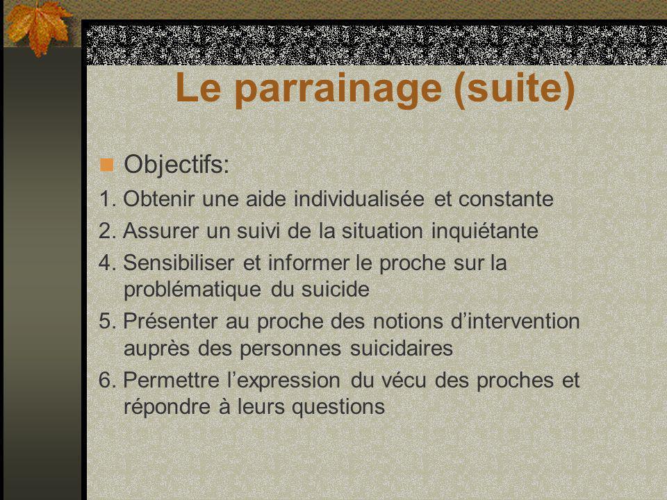 Le parrainage (suite) Objectifs: 1. Obtenir une aide individualisée et constante 2.