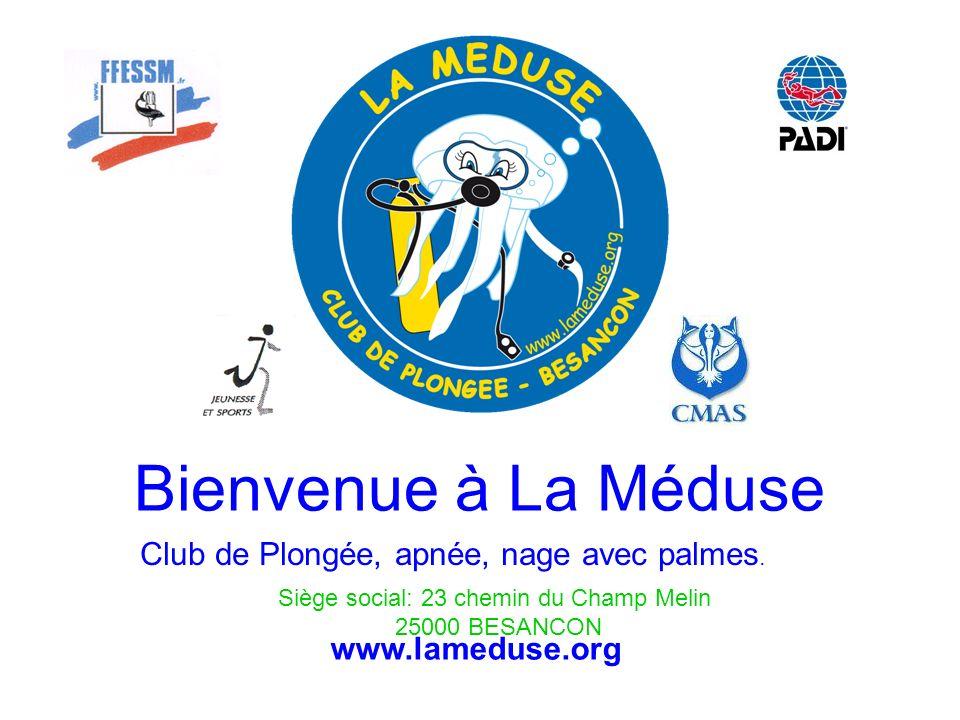 Bienvenue à La Méduse Club de Plongée, apnée, nage avec palmes. Siège social: 23 chemin du Champ Melin 25000 BESANCON www.lameduse.org