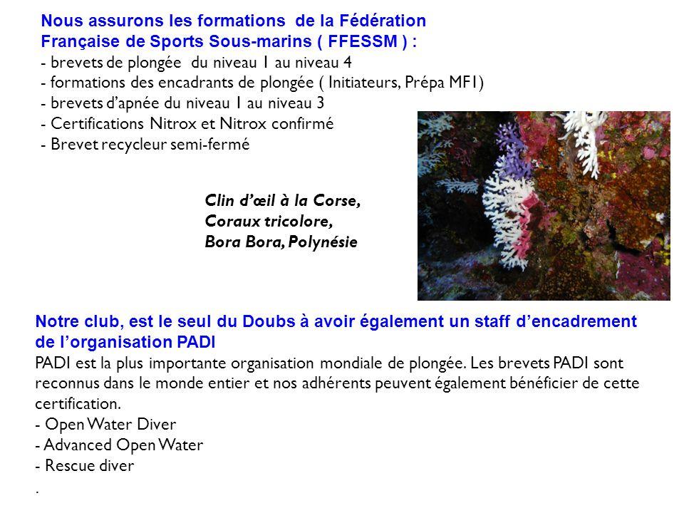 Nous assurons les formations de la Fédération Française de Sports Sous-marins ( FFESSM ) : - brevets de plongée du niveau 1 au niveau 4 - formations d