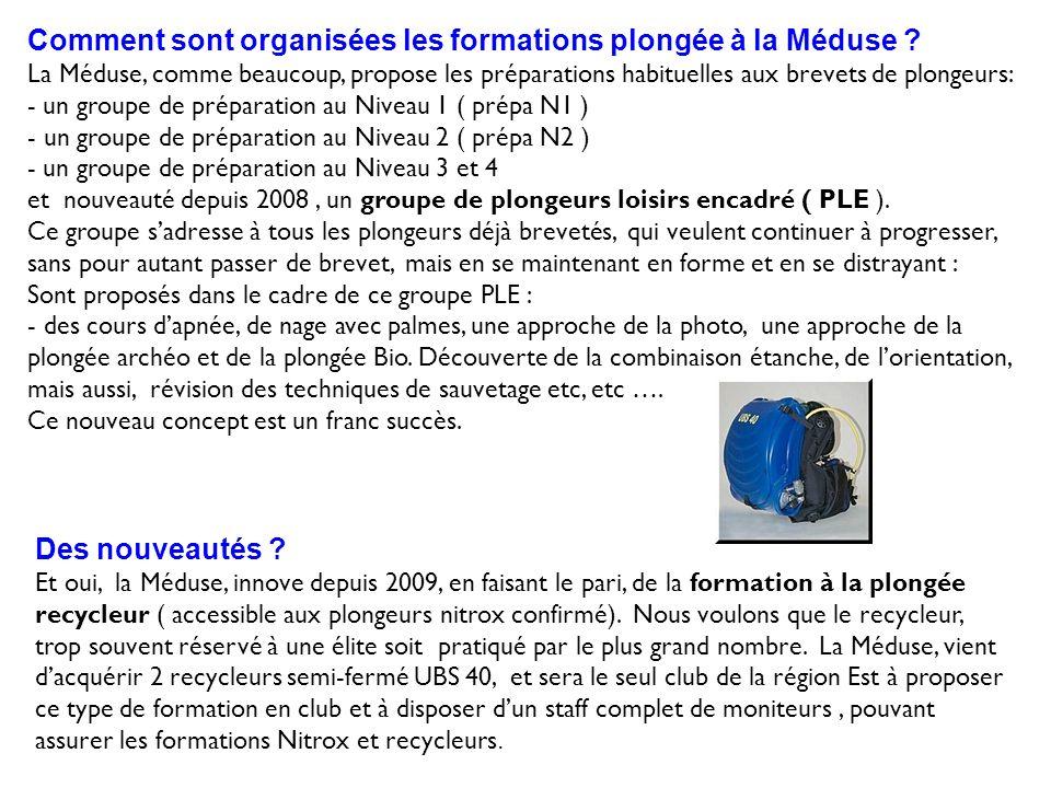 Comment sont organisées les formations plongée à la Méduse ? La Méduse, comme beaucoup, propose les préparations habituelles aux brevets de plongeurs: