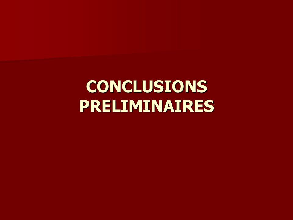 CONCLUSIONS PRELIMINAIRES