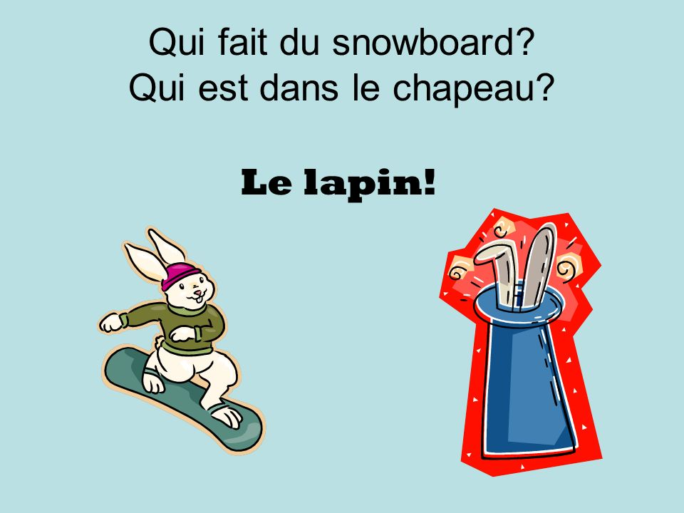 Qui fait du snowboard? Qui est dans le chapeau? Le lapin!