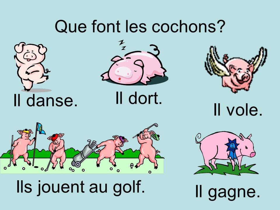 Que font les cochons Il vole. Il dort. Il danse. Ils jouent au golf. Il gagne.