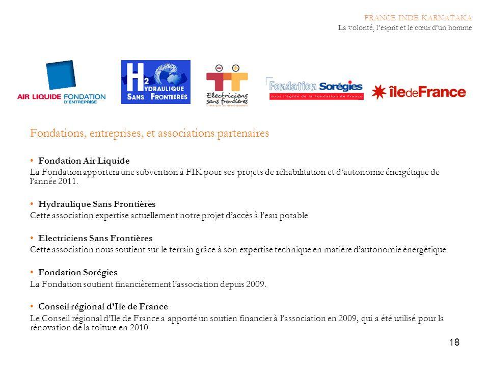 18 Fondations, entreprises, et associations partenaires Fondation Air Liquide La Fondation apportera une subvention à FIK pour ses projets de réhabili