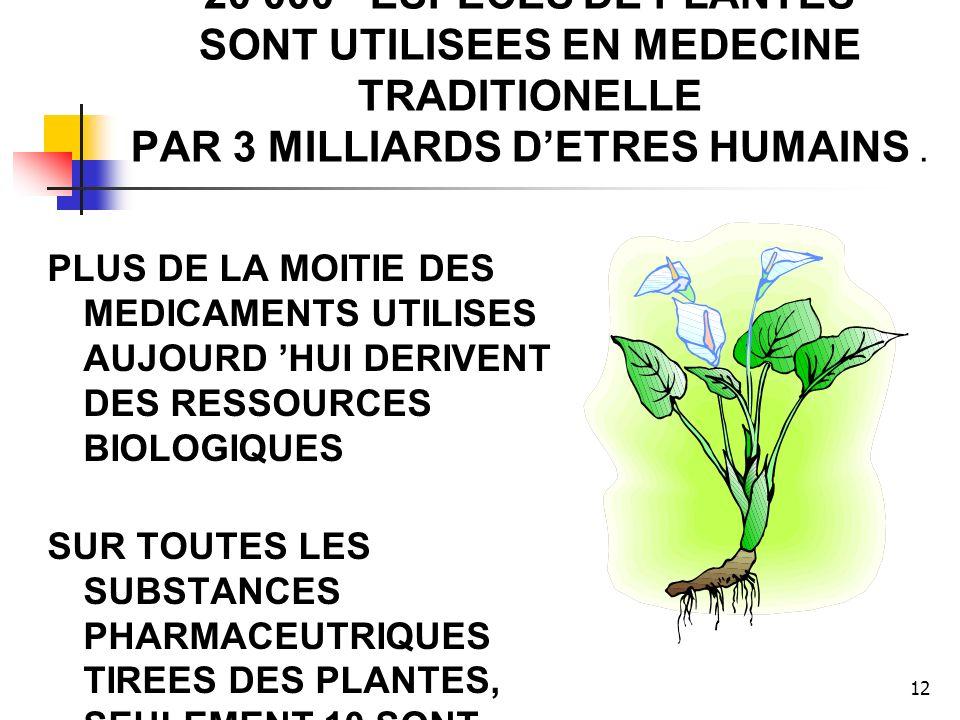 12 20 000 ESPECES DE PLANTES SONT UTILISEES EN MEDECINE TRADITIONELLE PAR 3 MILLIARDS DETRES HUMAINS. PLUS DE LA MOITIE DES MEDICAMENTS UTILISES AUJOU
