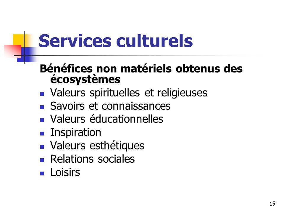 15 Services culturels Bénéfices non matériels obtenus des écosystèmes Valeurs spirituelles et religieuses Savoirs et connaissances Valeurs éducationne