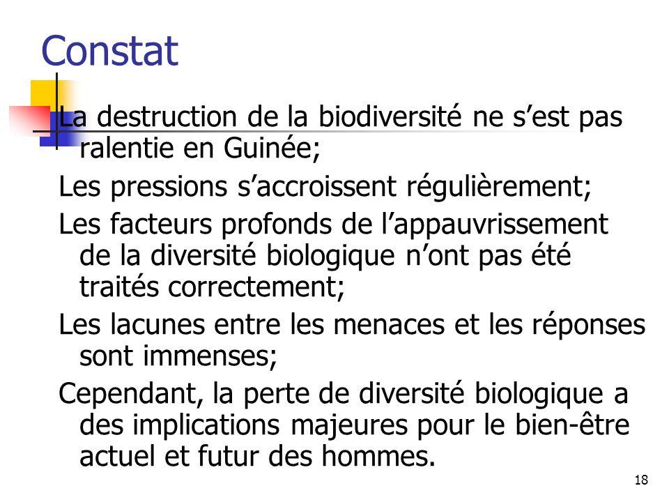 18 Constat La destruction de la biodiversité ne sest pas ralentie en Guinée; Les pressions saccroissent régulièrement; Les facteurs profonds de lappau
