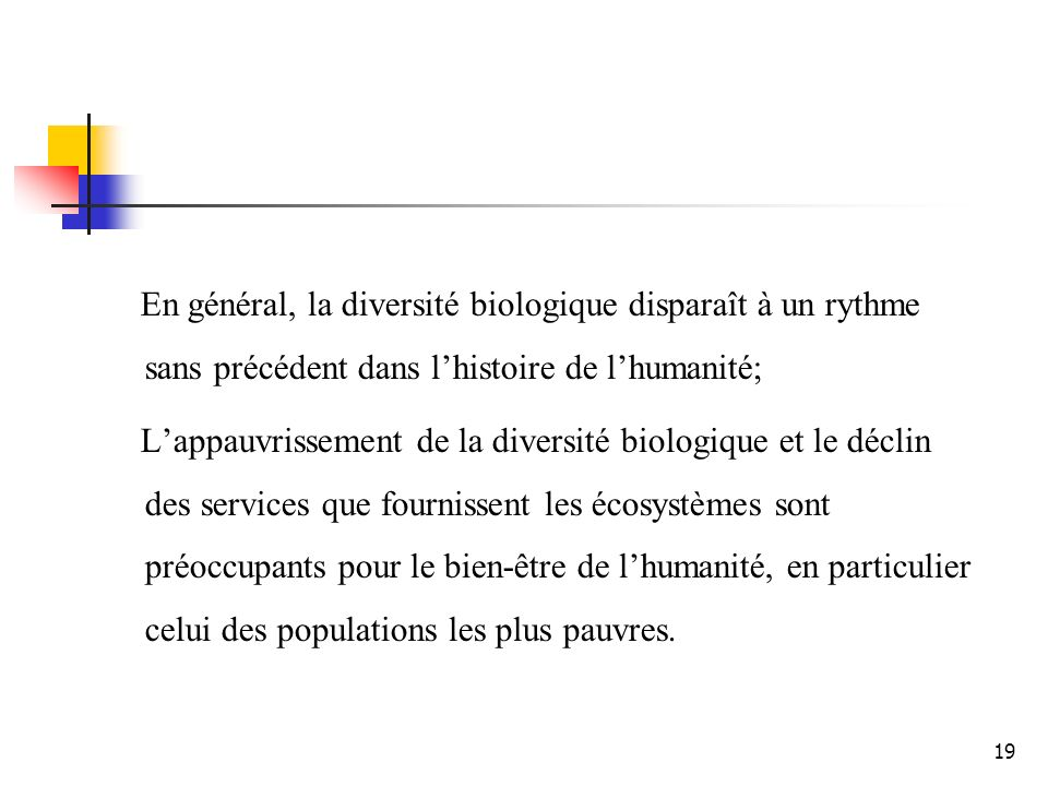 19 En général, la diversité biologique disparaît à un rythme sans précédent dans lhistoire de lhumanité; Lappauvrissement de la diversité biologique et le déclin des services que fournissent les écosystèmes sont préoccupants pour le bien-être de lhumanité, en particulier celui des populations les plus pauvres.