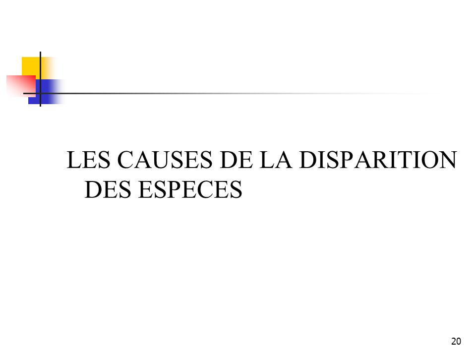 LES CAUSES DE LA DISPARITION DES ESPECES 20